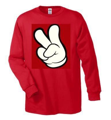 T-shirts: cartoons hands peace fingers Long sleeve shirt  Cool