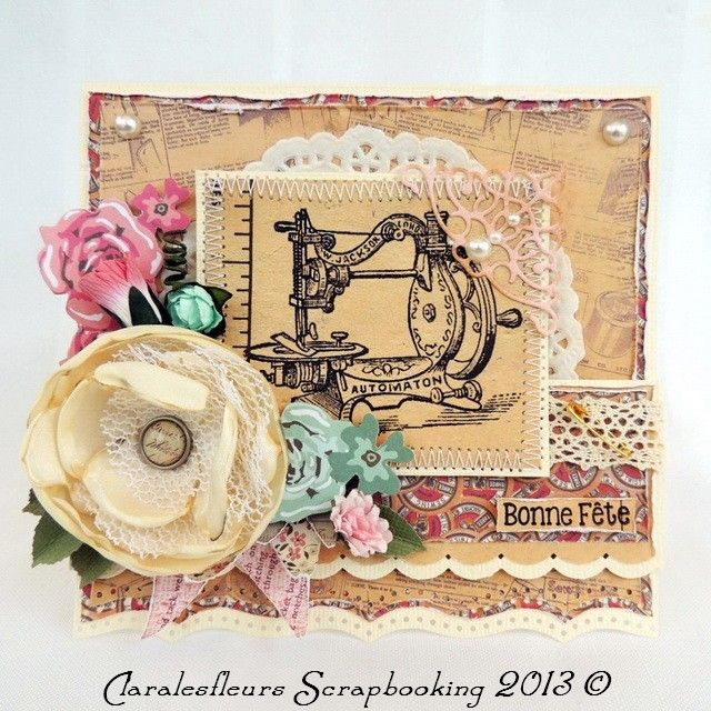 DT Art of Scrapbooking ... Card with the kit Needle and Thread for the challenge of the week