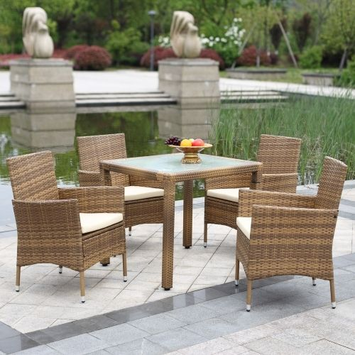 219.99$  Watch here  - IKAYAA 5PCS Rattan Outdoor Patio Dinning Table Set Cushioned Garden Patio Furniture Set