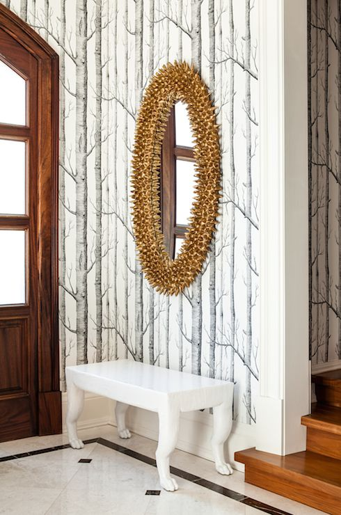Oval Foyer Mirror : Fabulous foyer is clad in cole sons woods wallpaper