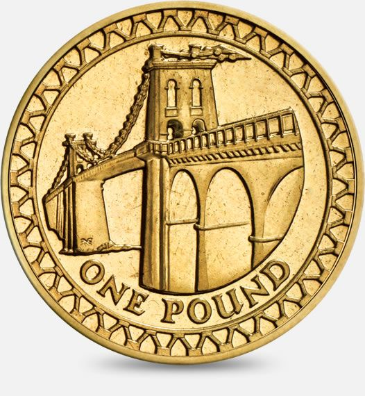 2005 'Menai Bridge' (inside a border of railings and stanchions) £1 (One Pound) Coin #CoinHunt