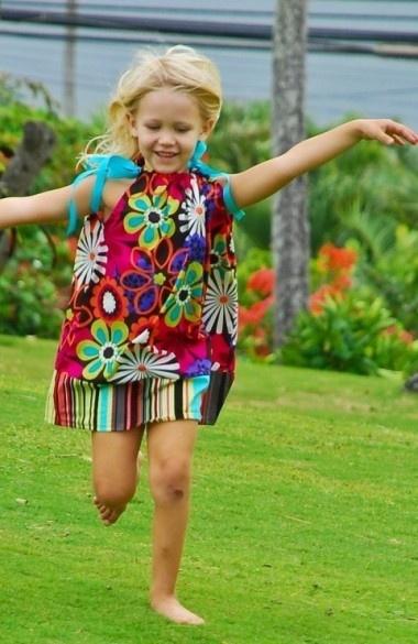 Super Flower Power Girls Rainbow Flower Pillowcase Dress