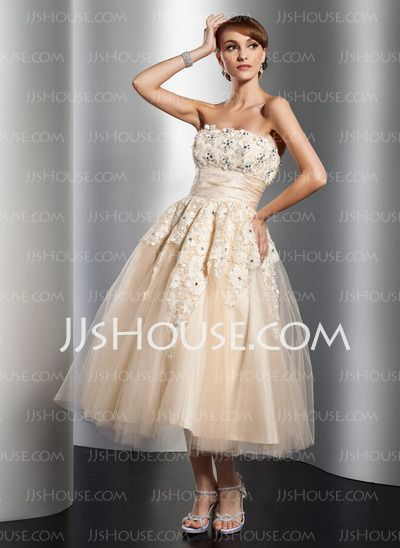 Wedding Dresses - $149.99 - A-Line/Princess Strapless Tea-Length Satin Tulle Wedding Dress With Ruffle Lace Beadwork Flower(s) (002014765) http://jjshouse.com/A-Line-Princess-Strapless-Tea-Length-Satin-Tulle-Wedding-Dress-With-Ruffle-Lace-Beadwork-Flower-S-002014765-g14765