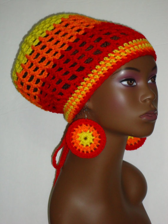 Crochet Rasta Hat Tam with Earrings and Drawstring by razondalee, $35.00