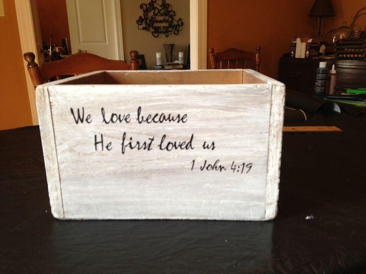 Wedding card box for gift table. Whitewash then stencil. Rustic wedding, wedding on a budget, wedding decorations