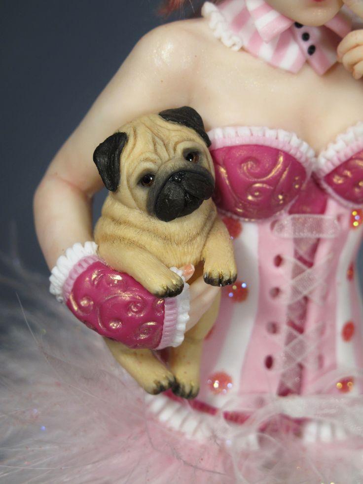 """Candy Pin-Up Pug"" OOAK by Sara Rojo Facebook fan page: https://www.facebook.com/SaraRojoFantasyArt."