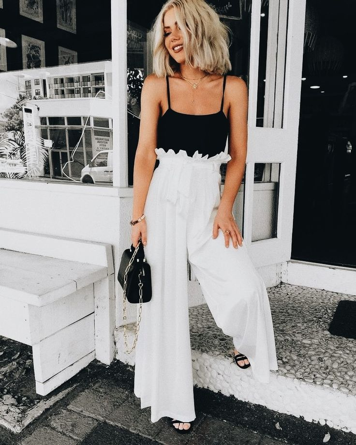 Top| Bodysuit| Tank| Black| Sleeveless| Arm| Pants| Trousers| High waisted| White| Ruffled| Ruffles| Shoes| Flats| Open toed| Sandals| Bag| Purse| Handbag| Leather| Necklace| Silver| Bracelet| Bangle| Multicolored| Ring| Multiple| Spring| P785