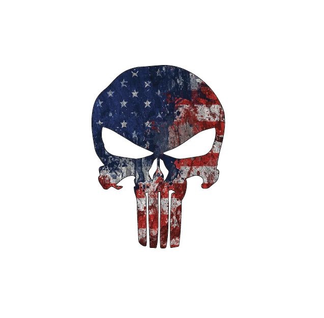 Punisher - American Flag, Full Color Die Cut Decal/Sticker