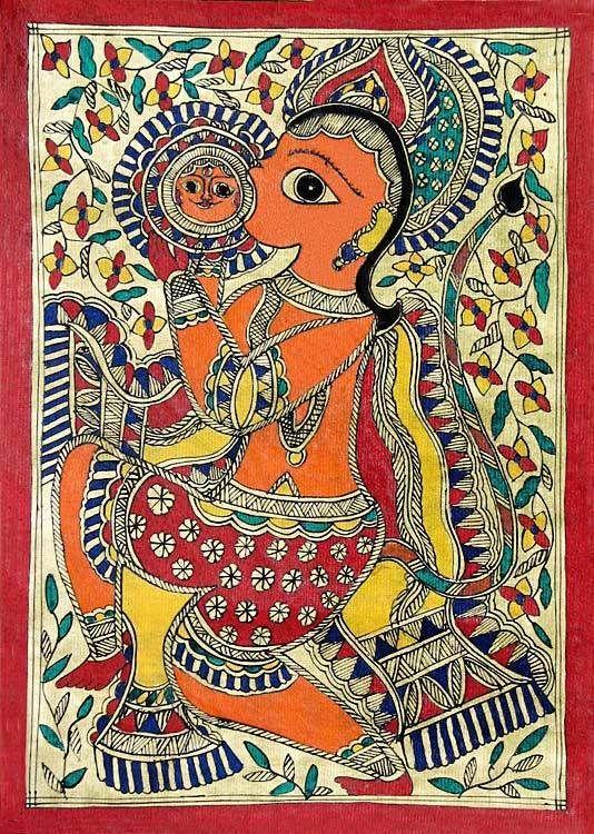 Hanuman Devouring the Sun - Madhubani Folk Art on Paper