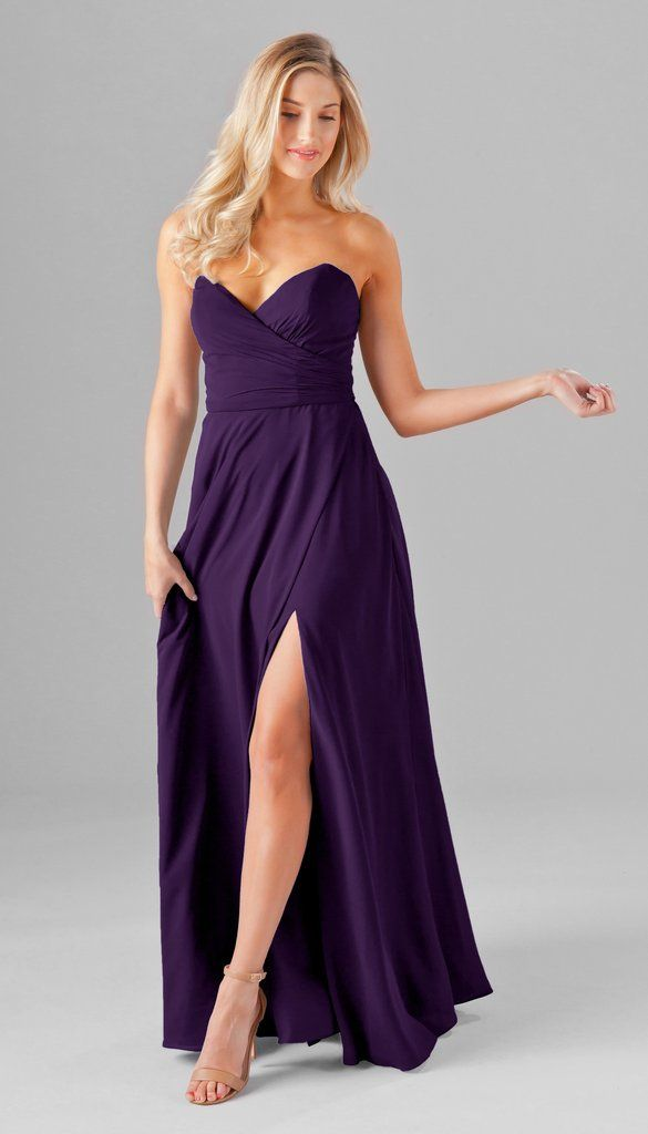 Poppy Strapless Chiffon Bridesmaid Dress | Kennedy Blue Style Poppy Featured in Grape   bridesmaid gown | strapless | chiffon | spring summer fall winter weddings | affordable | high quality | slit | sweetheart neckline