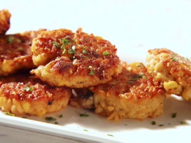 Risotto Cakes Recipe : Sandra Lee : Food Network - FoodNetwork.com -- Halve everything.