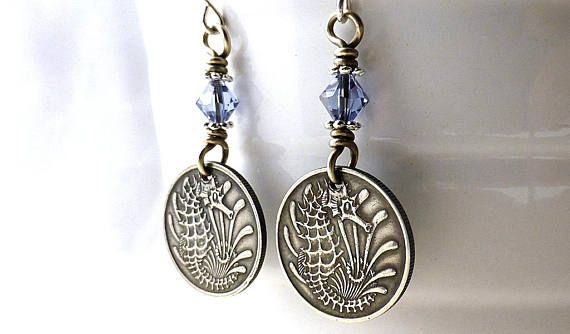 Singapore Coin earrings Seahorse earrings Fish earrings
