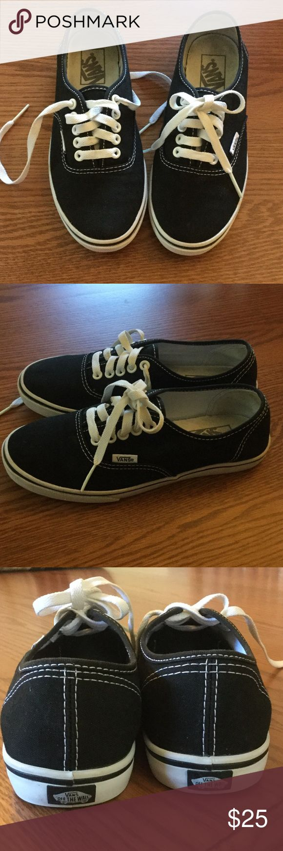 Black Vans sneakers Black Vans shoes!  Women's size 6.5, men's size 5.  They look brand new except for some dirty spots at the inside heels.  These have just been washed. Vans Shoes Sneakers