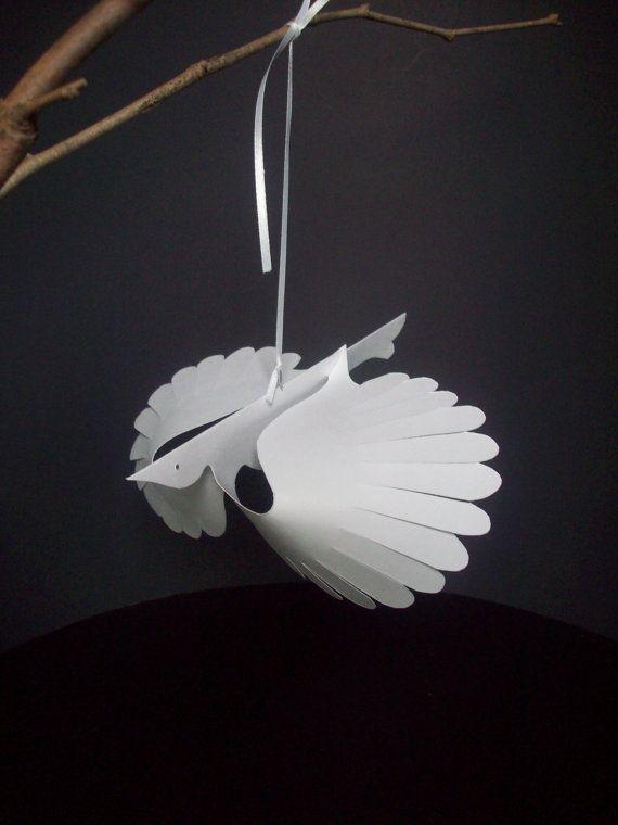 Paper Things--Twelve White Flying Paper Birds