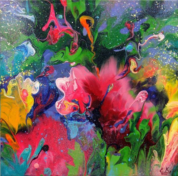 Abstract Flowers Small painting