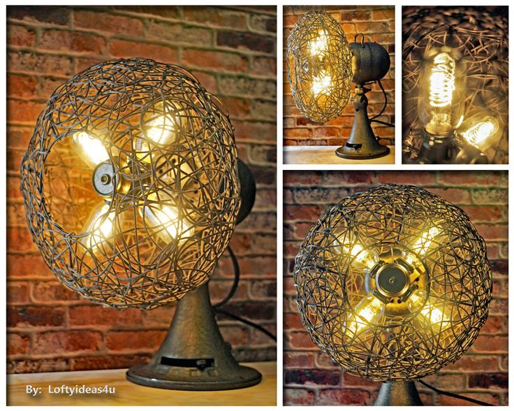 Industrial Rustic Vintage Metal and Wood Repurposed Emerson Electric Fan Table Lamp (4) 40 watt Vintage Edison Light Bulbs by Loftyideas4u by Loftyideas4u on Etsy