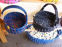 repurpos hose to baskets...great idea for wet shoes or gardening equipment