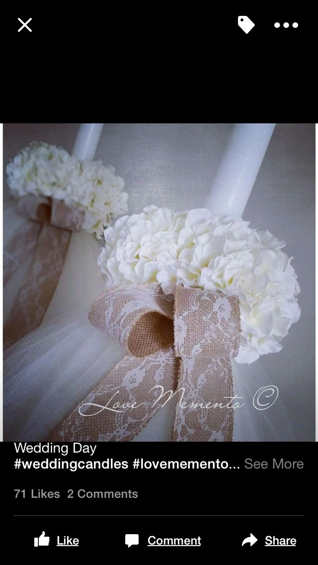 Floral and rustic tulle wedding Candle