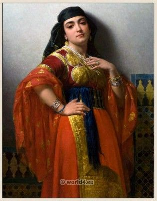 Jewish Girl From Morocco in 1869. Painted in 1870 by Émile Vernet-Lecomte (1821-1900)
