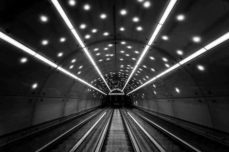 Spaceship - Its been taken in Warsaw subway station about two weeks after opening. These stairs have fantastic lights.