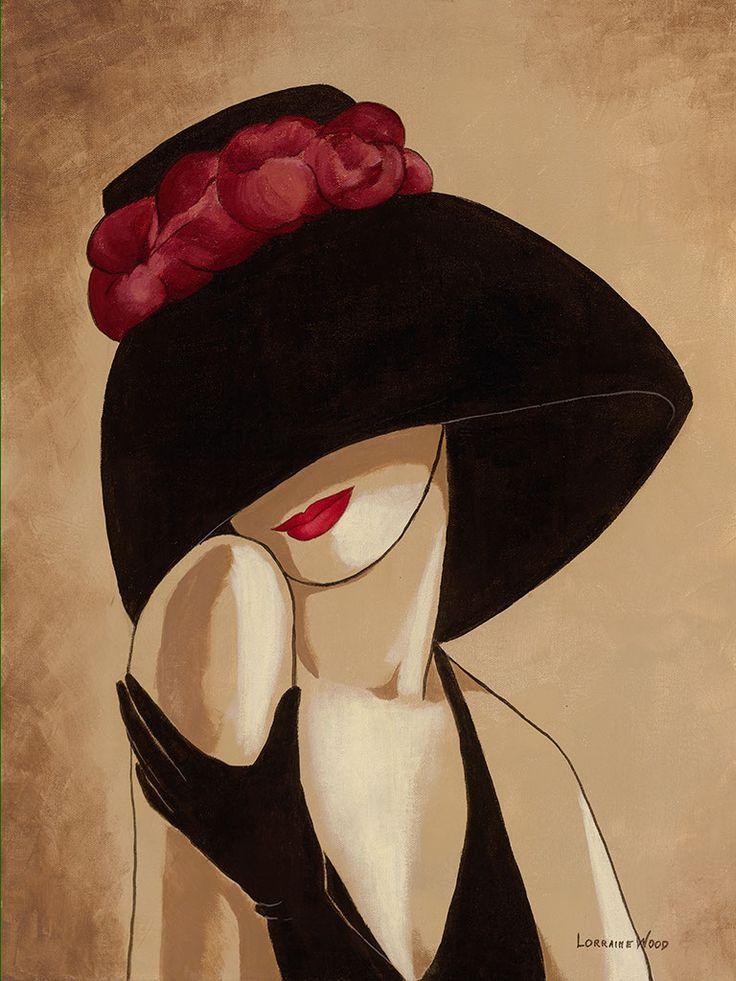 Картинки женщины в шляпах рисунки, открытку
