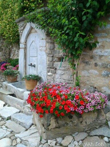 Secret garden: beautiful old fountain- Timiou Prodromou monastery - Serres Greece