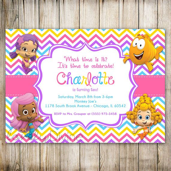 Bubble Guppies Birthday Invitation Chevron by LovelyDivine9, $12.00