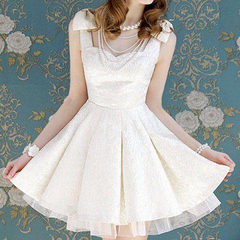 Vintage Sweetheart Neck Sleeveless Voile Splicing Bowknots Dress For Women Vintage Dresses | RoseGal.com Mobile