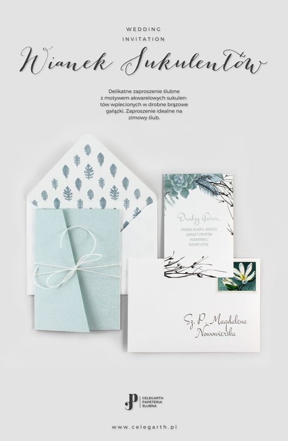Delikatne zaproszenie ślubne Wianek Sukulentów | Pracownia Celegarth #zaproszeniaslubne #zaproszenianaslub #zaproszenia #sukulent #eko #wesele #slub #pomyslnaslub #pomyslnazaproszenia #greenery  #celegarth #weddinginvitation #weddingstationery #weddingdesign #succulent #botanicalinvitation