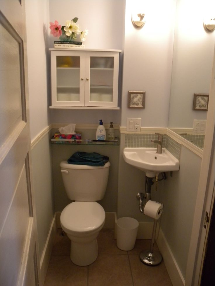 My new teeny tiny powder room less than 11 square feet for Bathroom designs square room