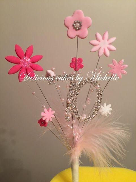Pink flower cake topper. fondant,