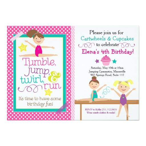 438 best cupcake birthday party invitations images on pinterest cartwheels cupcakes gymnastics party invitation stopboris Image collections