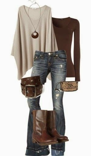 Oversize sweater, blouse, jeans,  love all three though would be better in cooler colors.