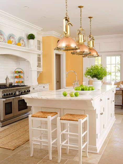 Love the color of yellow!  warm - yellow and white (but careful, the color yellow is thought to evoke hunger)