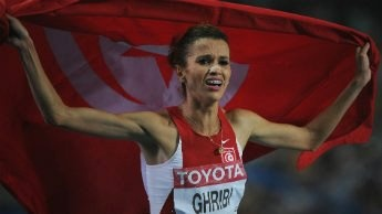 8/8/12 - Runner Habiba Ghribi has become the first ever Tunisian woman to stand on an Olympic podium, after winning a silver medal ( women's 3,000-metre steeplechase) at the London Games this week. Her victory has fueled an ongoing debate over women's rights back home.