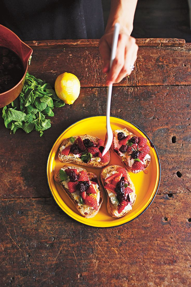 Crostini with Lemon-Spiked Ricotta, Strawberries + Mint featured in Lunch Lady Issue Four. Lunch Lady Magazine available at http://shop.hellolunchlady.com.au/