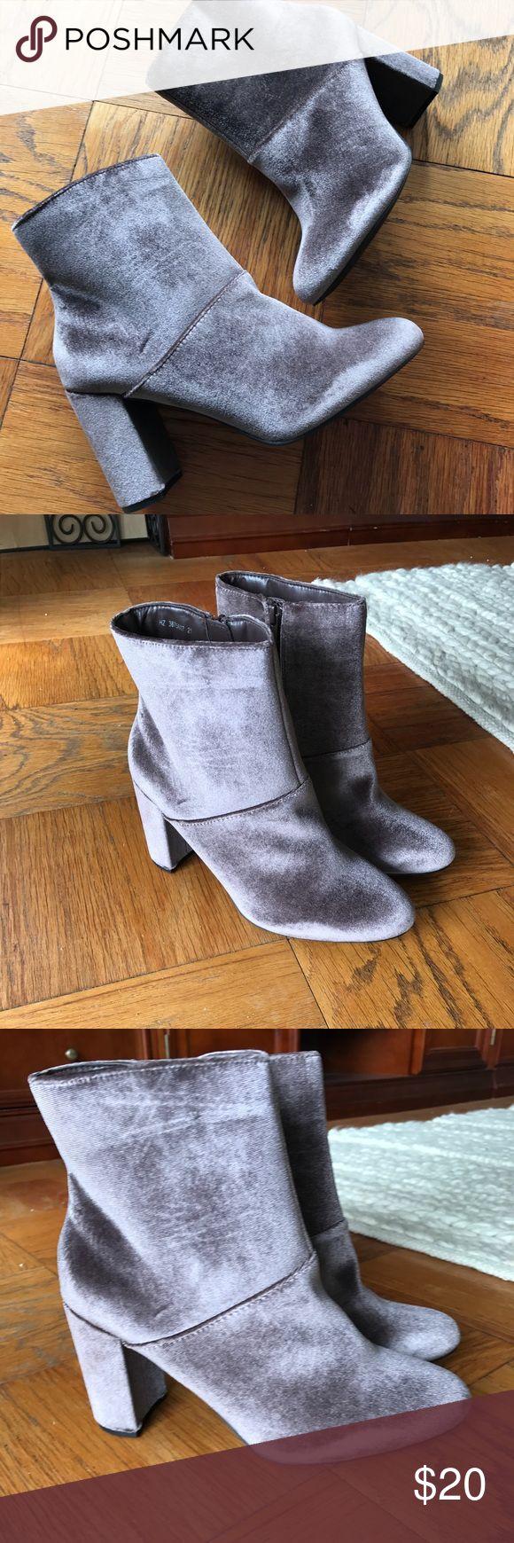 Asos New Look Velvet booties Brand new never worn grey/purple velvet booties size US 9.5w ASOS Shoes Ankle Boots & Booties