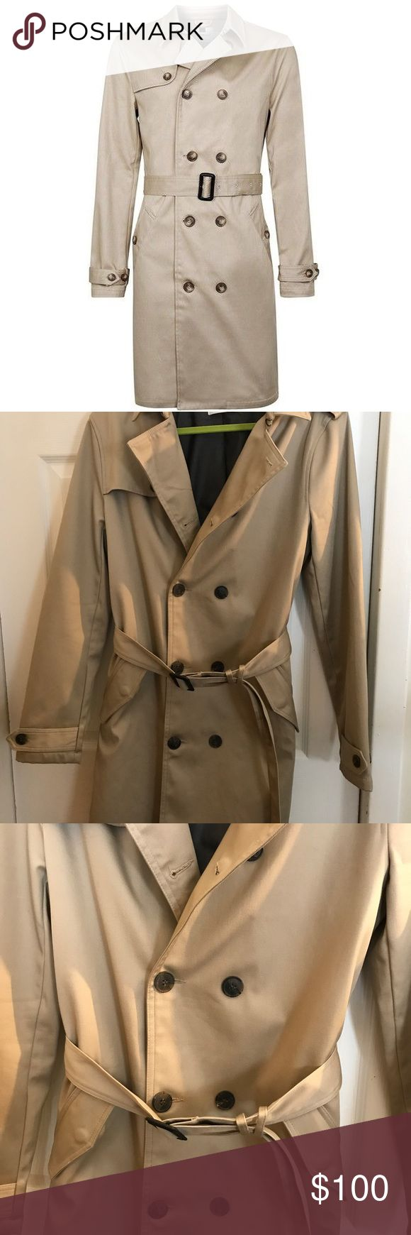 Top man mens trench coat So selling it all. Gorgeous trench coat in very good condition. Some small marks hard to see with the naked eye(small water marks that you would really need to look for to see on the sleeve). This is so classy for that guy that works in an office. No trades. No low offers. Topman Jackets & Coats Trench Coats