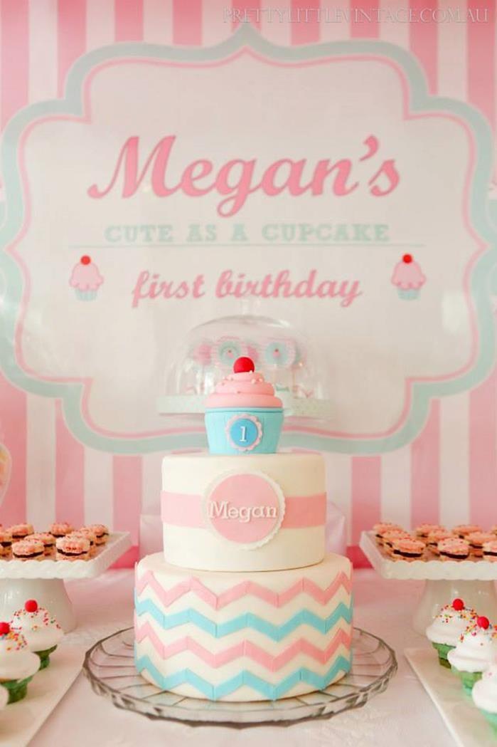 Cupcake Shoppe 1st Birthday styled by www.prettylittlevintage.com.au  Pink & Teal Chevron Cupcake Cake