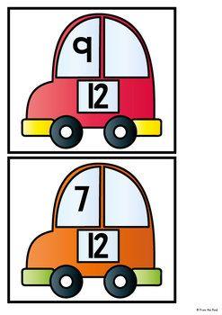 DECOMPOSING NUMBERS - WRITE AND WIPE CARDS - CAR ADDITION $ - TeachersPayTeachers.com