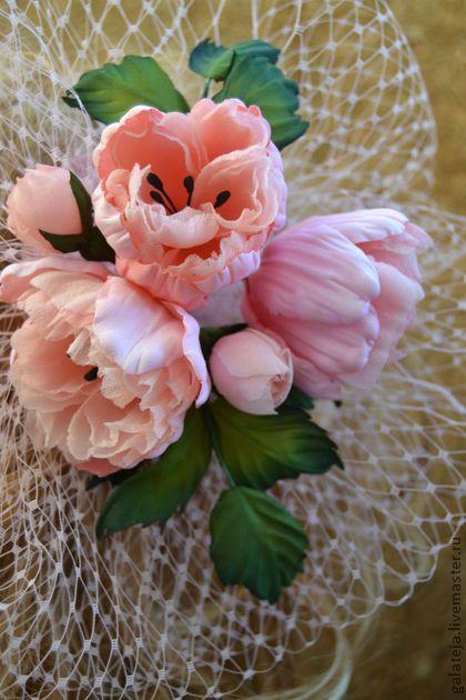 Цветы из шелка.Вуалетка  Антуанетта.