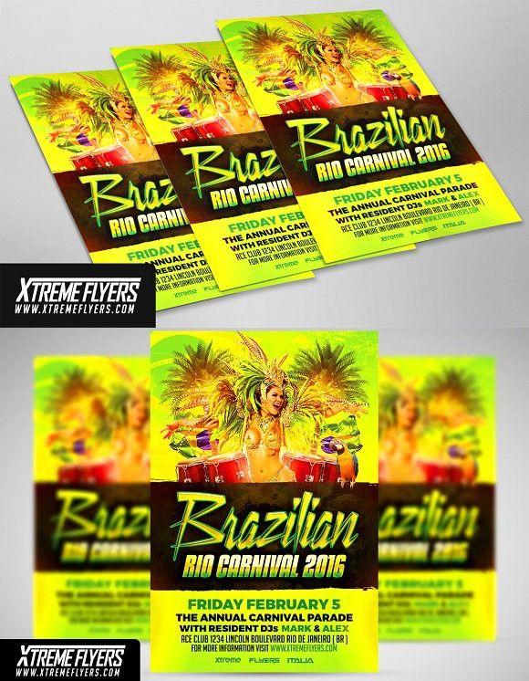 brazilian carnival flyer template flyer templates pinterest flyer template and templates