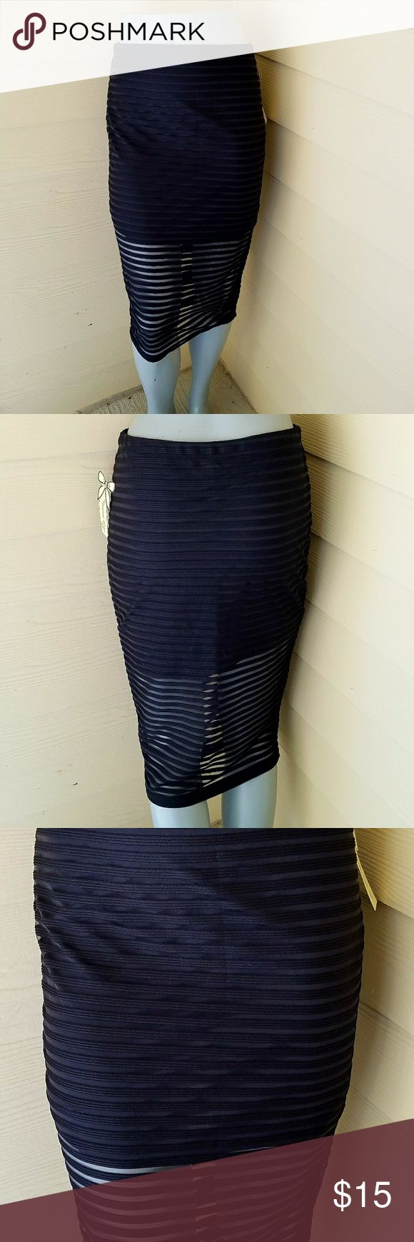 Black pencil skirt See thru pencil skirt.  Lined at top portion. Vivienne Grace Skirts Pencil