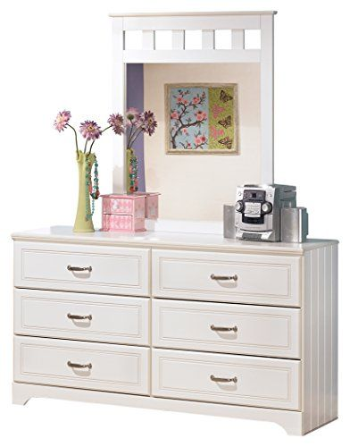 ashley furniture signature design lulu dresser mirror 6 drawer bureau white