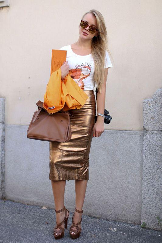white tee + orange jacket + gold midi skirt + brown purse + brown heels