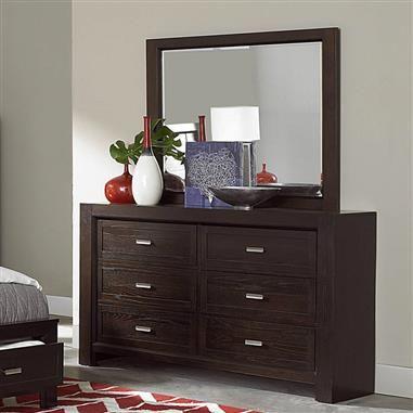 breese dark cherry wood glass dresser