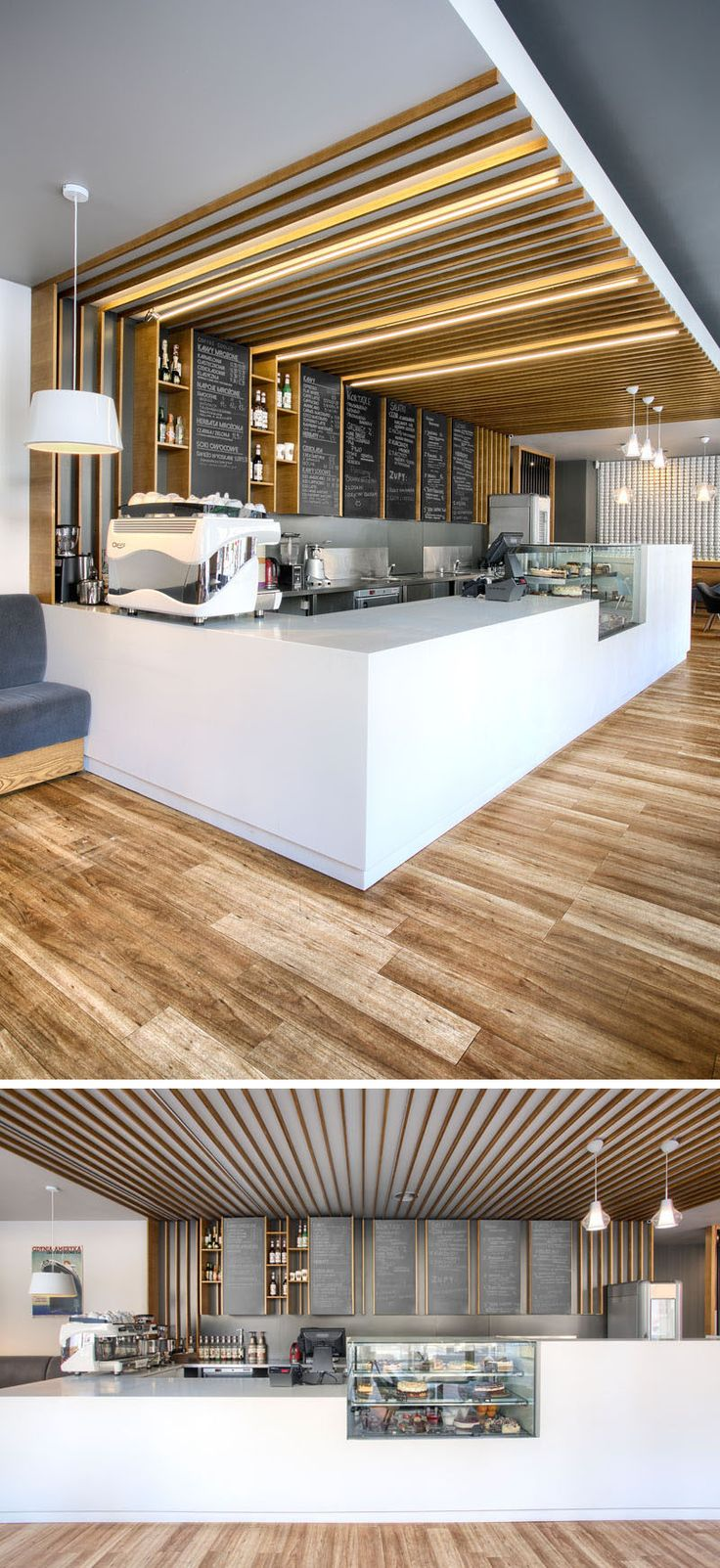 this cafe service counter mixes white counters with glass wood detailing and chalkboards hidden lighting runs overhead along the the wooden details - Glass Front Cafe 2015