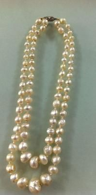 Rare Antique Natural Basra Pearl Necklace: Type of pearl: ANTIQUE NATURAL BASRA PEARLS  Carat Weight: Total 283.07 carats 84 pearls  Shape: Semi-Baroque and Baroque  Size: Largest Pearl - 15.2 X