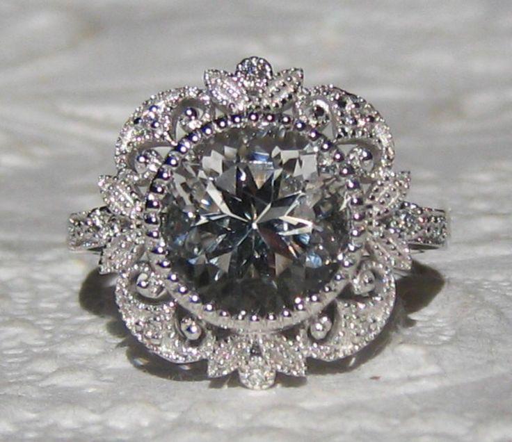 Diamond Engagement Ring, White Topaz in White Gold Milgrain Bezel Filigree Engagement Ring by JuliaBJewelry on Etsy https://www.etsy.com/listing/222026895/diamond-engagement-ring-white-topaz-in