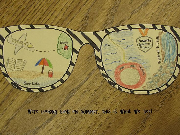 "Back to school idea - ""We're looking back on summer, this is what we see!"" Have students draw pictures of things they have done over summer break in sunglasses. Free download."